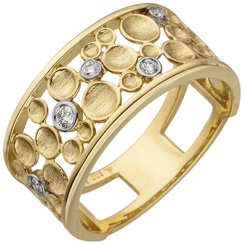 Damen Ring breit 585 Gold Gelbgold 5 Diamanten Brillanten Diamantring