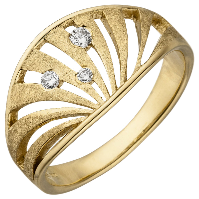 Damen Ring 585 Gold Gelbgold eismatt 3 Diamanten Brillanten Diamantring