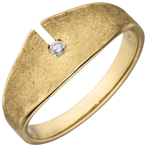 Damen Ring 585 Gold Gelbgold eismatt 1 Diamant Brillant 0,04ct. Diamantring