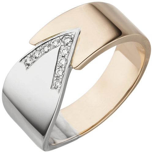 Damen Ring 585 Gold Weißgold Rotgold bicolor 9 Diamanten Brillanten