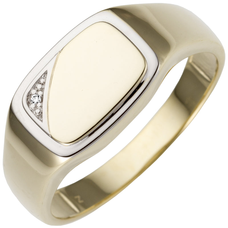 Herren Ring 585 Gold Gelbgold bicolor 1 Diamant Brillant Goldring