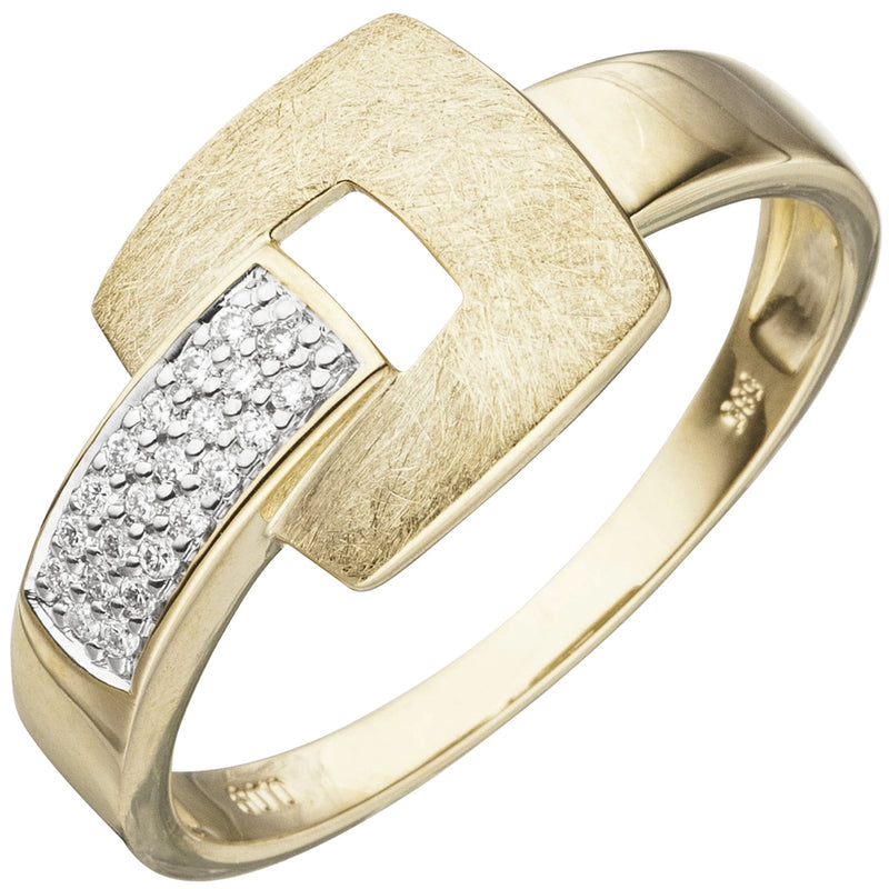 Damen Ring 585 Gold Gelbgold eismatt 22 Diamanten Brillanten