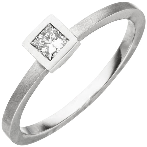 Damen Ring 950 Platin matt 1 Diamant Princess-Schliff 0,20ct.