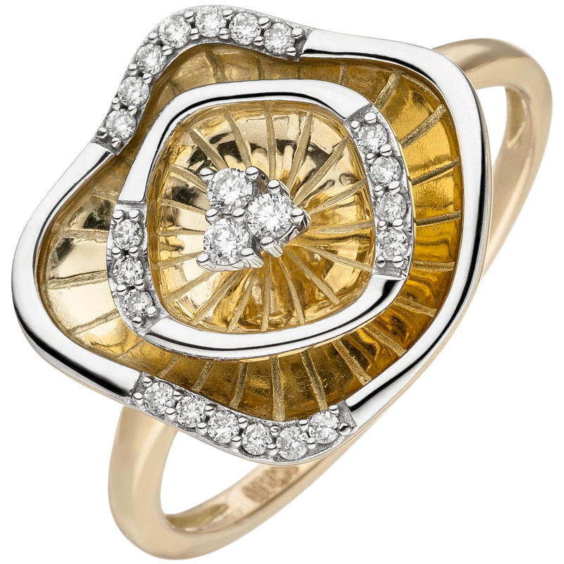 Damen Ring 585 Gold Gelbgold bicolor 23 Diamanten Brillanten