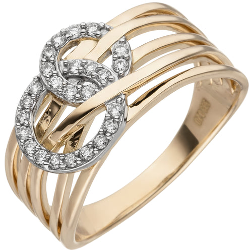 Damen Ring breit 585 Gold Gelbgold 25 Diamanten Brillanten