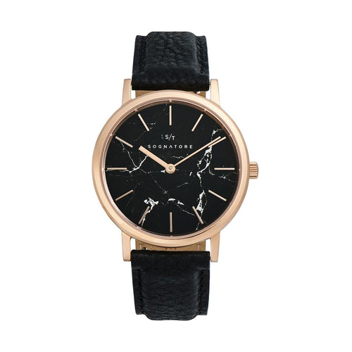 Sognatore Marble Black Rose Gold Damenuhr / Herrenuhr