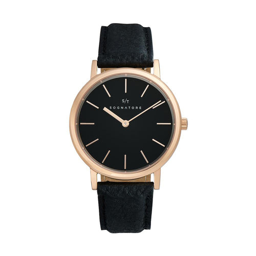 Sognatore Pure Black Rose Gold Damenuhr / Herrenuhr