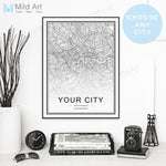 Black White Custom World City Map
