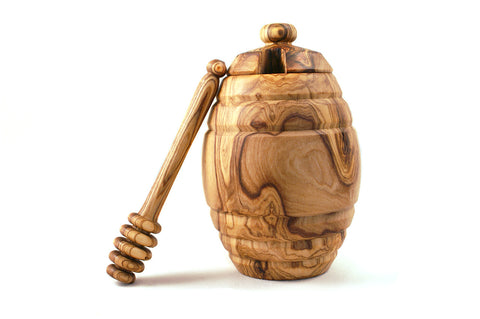 Olive Wood Honey Pot with Dipper