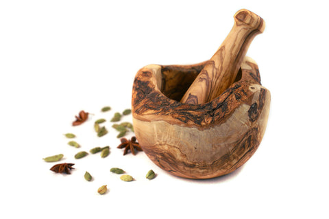 Olive Wood Rustic Mortar and Pestle