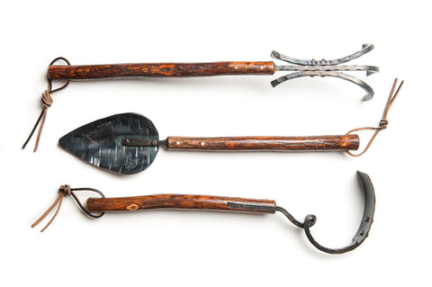 Long Handled Shagbark Hickory Tool Set