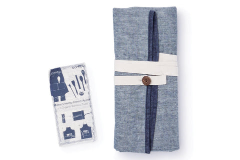 Hemp Denim Maker's Apron with Bamboo Tools