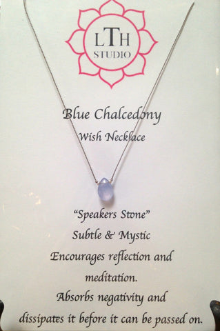 Wish Necklace- Blue Chalcedony