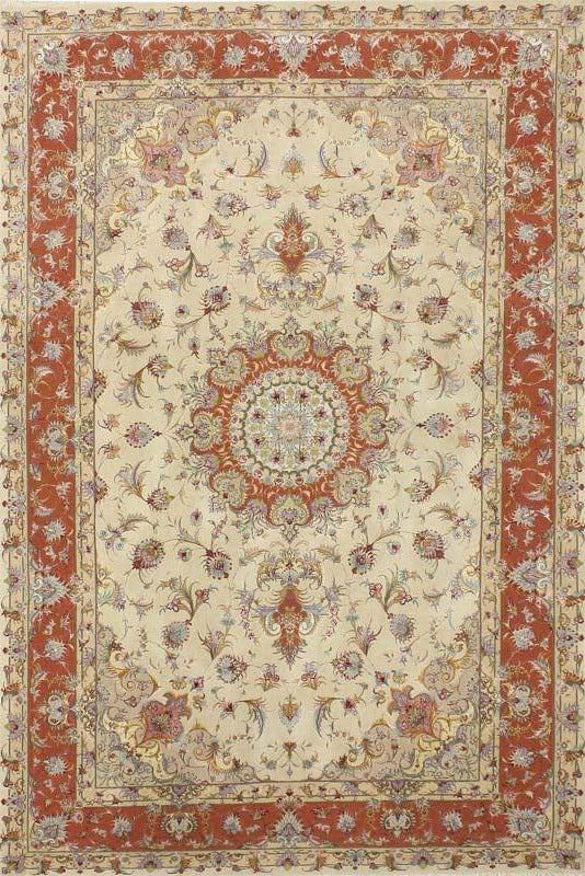 Cream Green Tabriz Rug