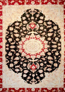 Cream Black Persian Tabriz Rug