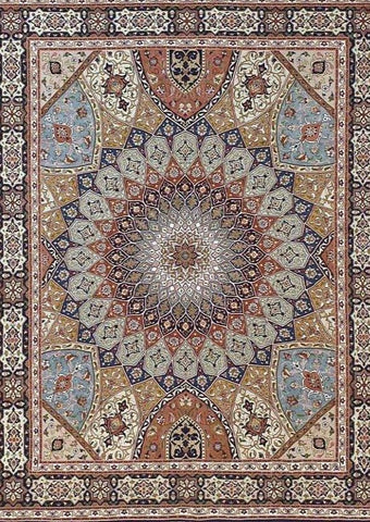 Cream Medallion Tabriz rug