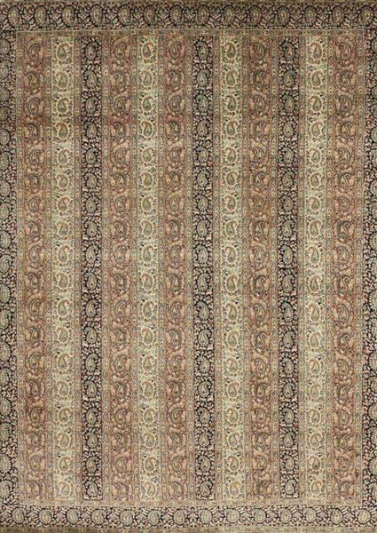 Cream Transitional Indian Silk Rug