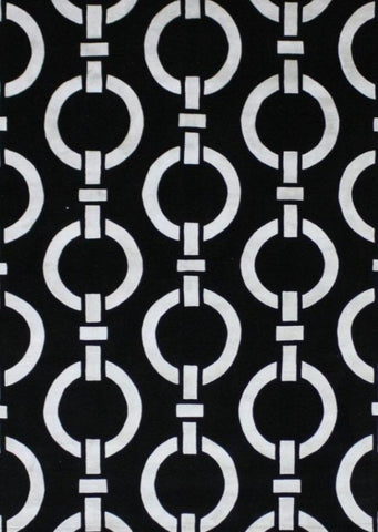 black and white geometrical indo Tibetan modern designing rug