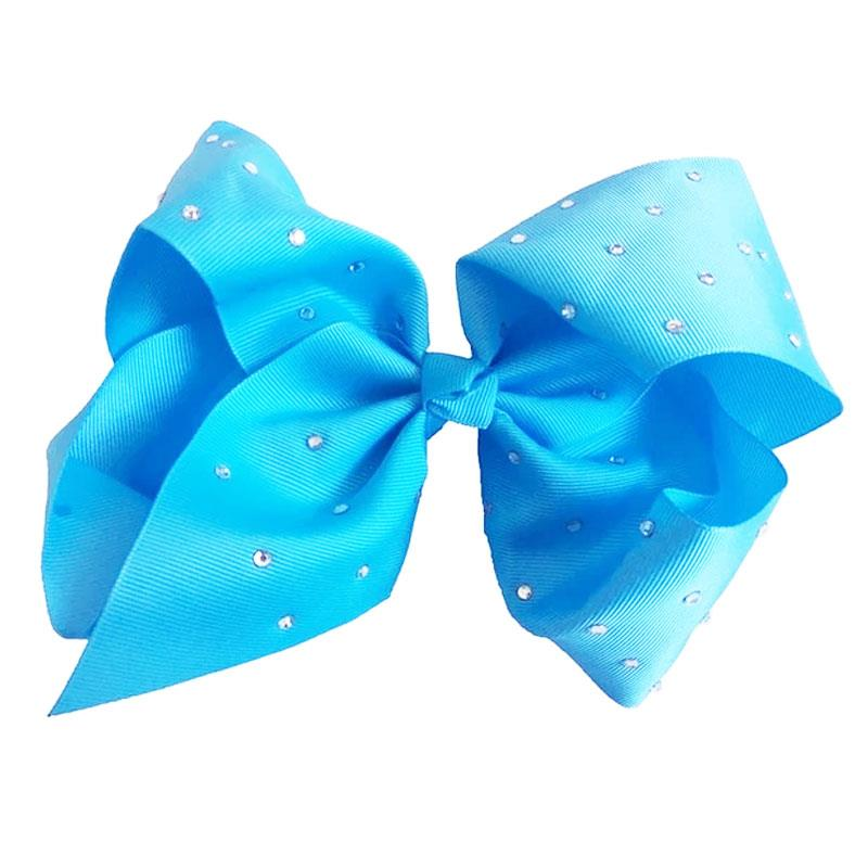 8 Inch Blue Hair Bow Rhinestone Signature