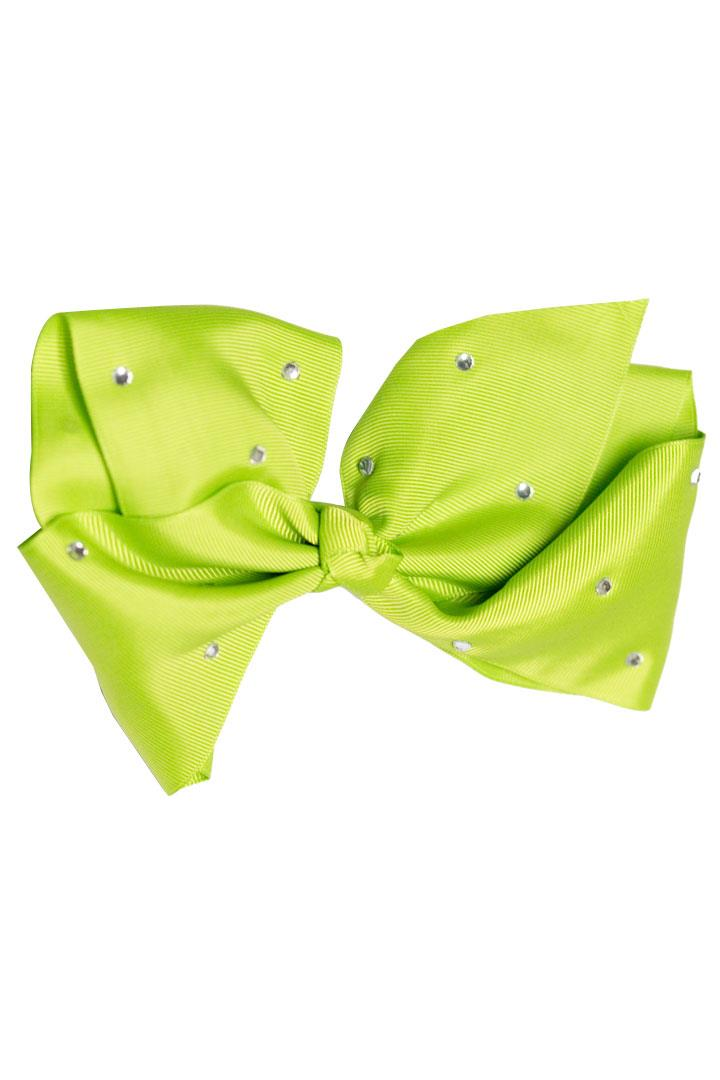 8 Inch Green Hair Bow Rhinestone Signature