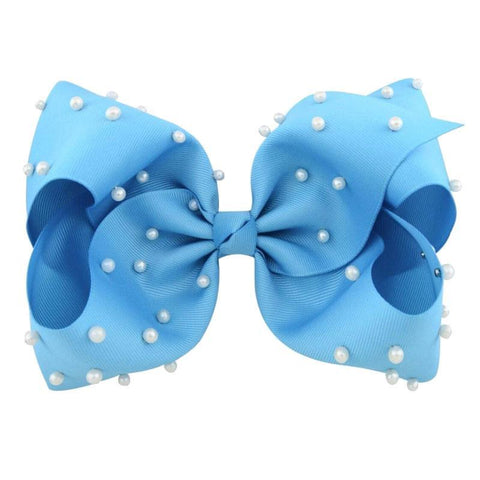 8 Inch Hair Bow Blue Pearl Signature