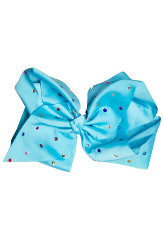 8 Inch Hair Bow Blue Spring Rainbow Rhinestone Signature