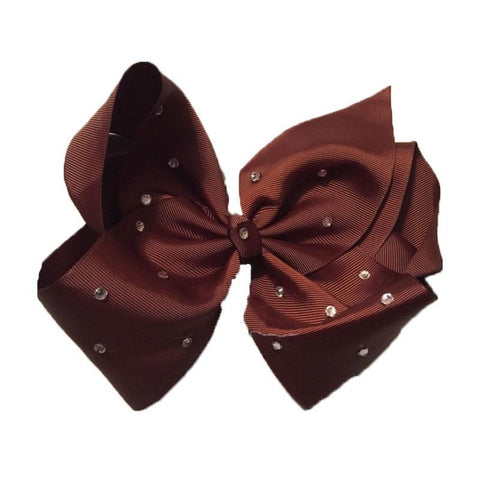 8 Inch Hair Bow Brown Rhinestone Signature