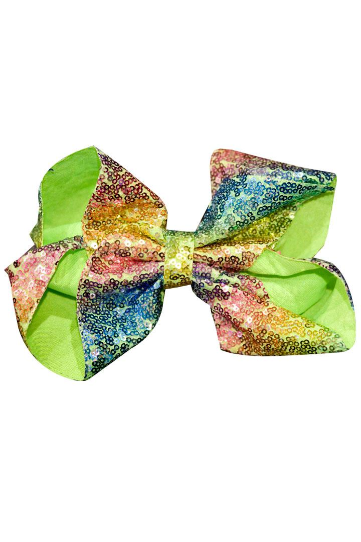 8 Inch Hair Bow Colorful Rainbow Sequin Signature