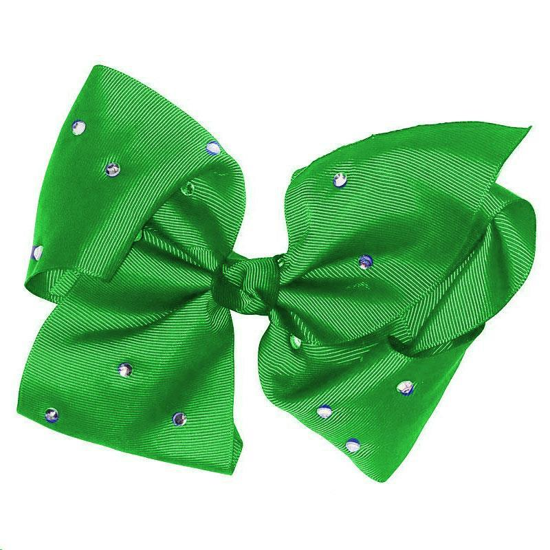 8 Inch Hair Bow Emerald Green Rhinestone Signature