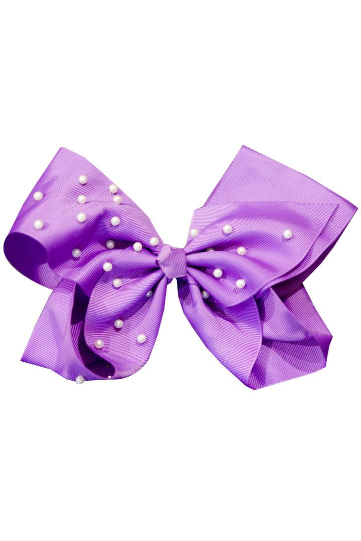 8 Inch Hair Bow Lavender Pearl Signature