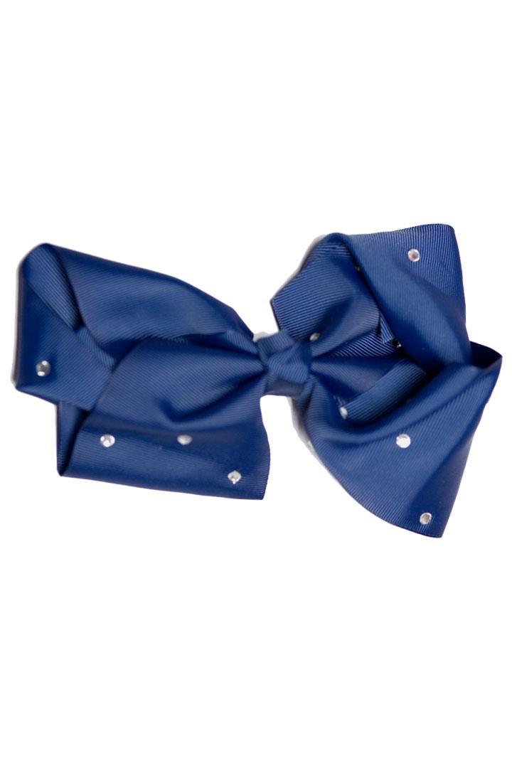 8 Inch Hair Bow Navy Blue Rhinestone Signature