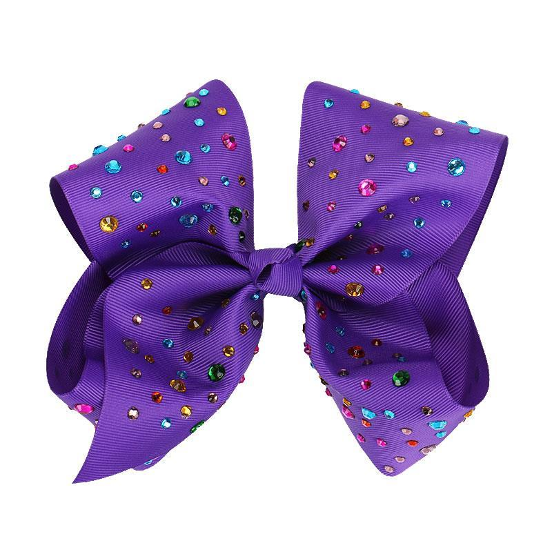 8 Inch Hair Bow Rainbow Rhinestone Purple Signature