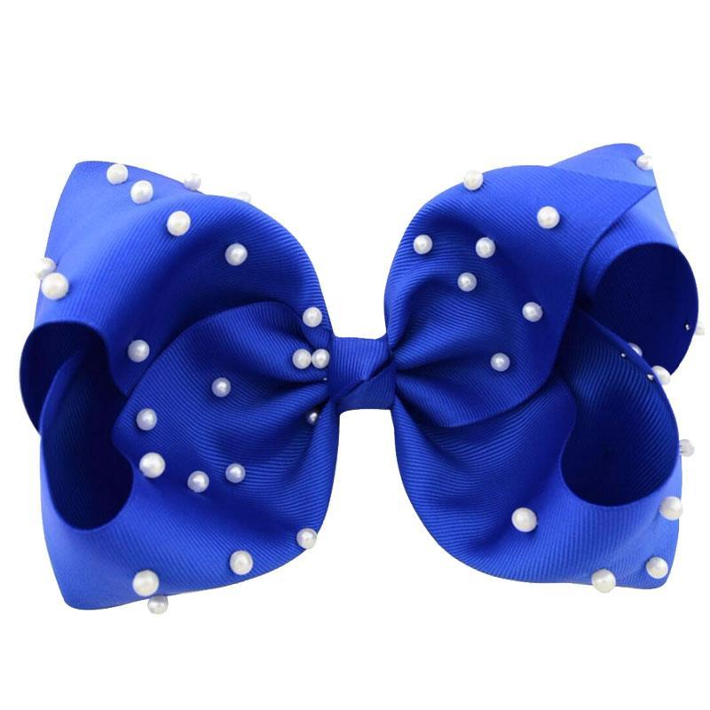 8 Inch Hair Bow Royal Blue Pearl Signature
