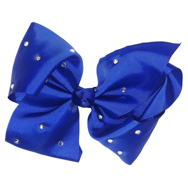 8 Inch Hair Bow Royal Blue Rhinestone Signature
