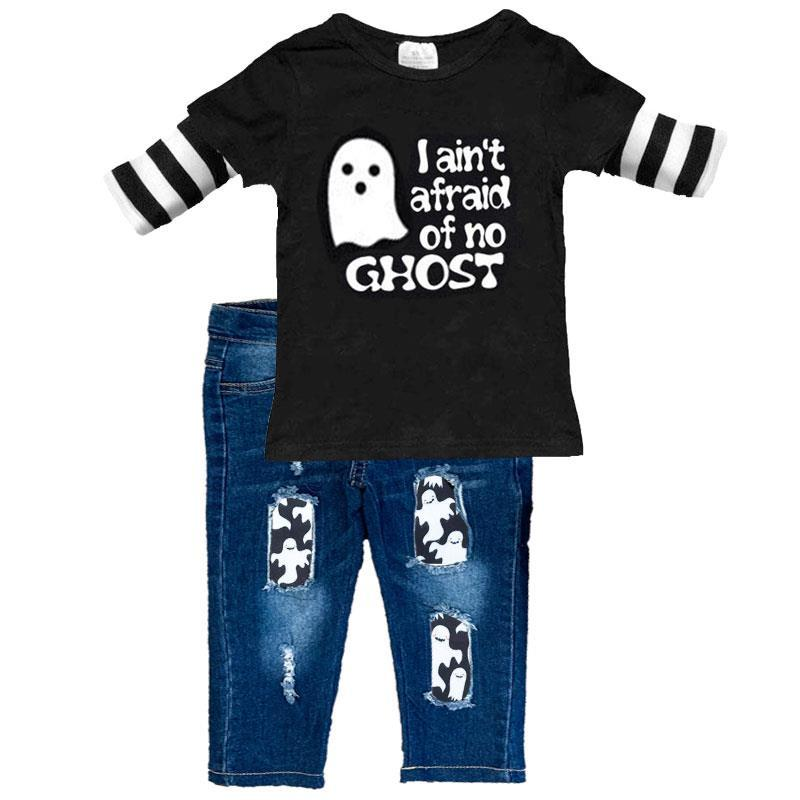 Afraid Of No Ghost Outfit Denim Pants And Shirt Boy