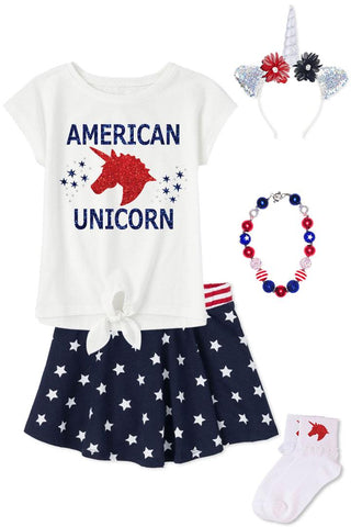 American Unicorn Outfit Sparkle Stars Top And Skirt