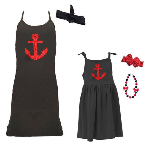 Anchor Dress Red Sparkle Black Spaghetti Strap Mommy Me