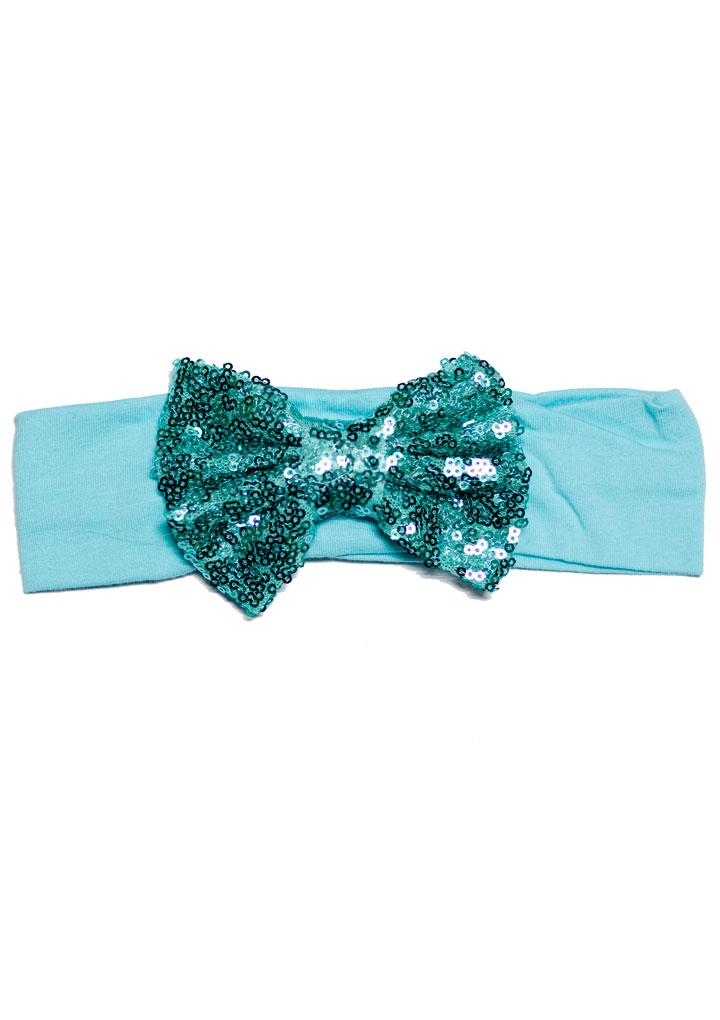 Aqua Blue Headband Sequin Bow