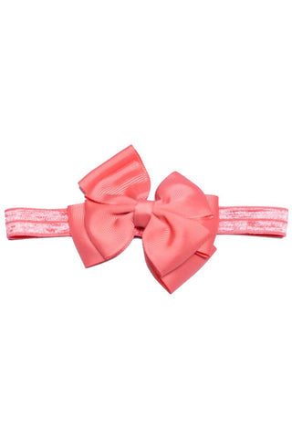 Baby Coral Pink Double Bow Headband