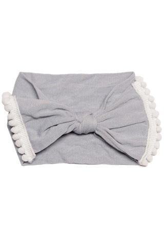 Baby Gray Pom Headband Ruffle Bow