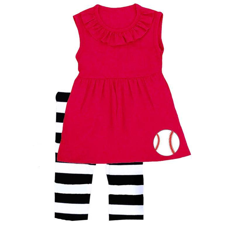Baseball Red Stripe Outfit Ruffle Top And Capri