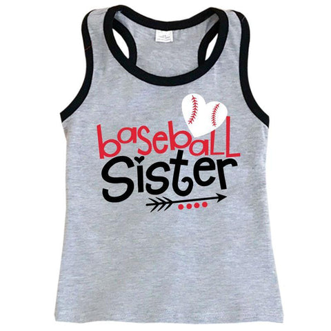 Baseball Sister Gray Tank Black Trim