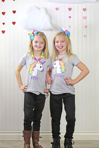 Best Friends Unicorn Shirt Gray