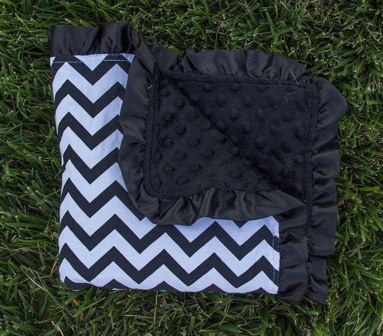 Black Chevron Black Ruffle Minky Blanket