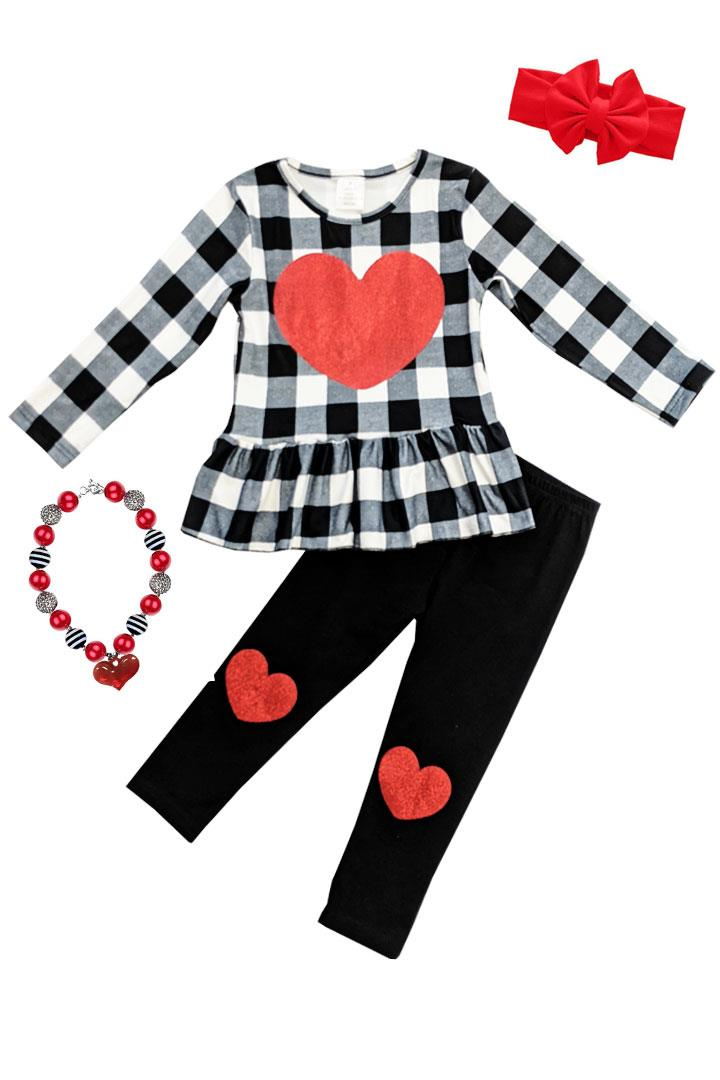 Black Gray Plaid Heart Outfit Ruffle Top And Pants