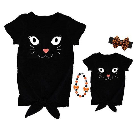Black Kitty Cat Shirt Mommy Me