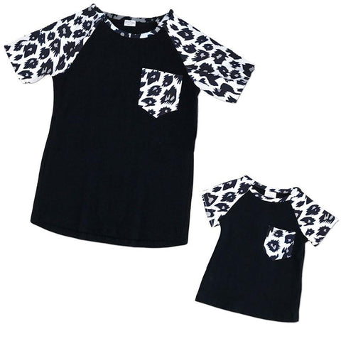 Black Leopard Pocket Mommy Me Shirt
