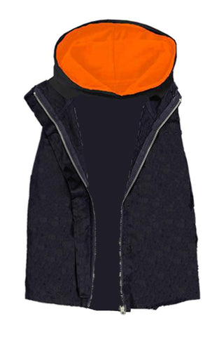 Black Orange Hoodie Vest