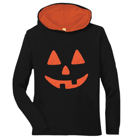 Black Orange Pumpkin Adult Teen Hoodie