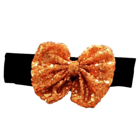 Black Orange Sequin Bow Headband
